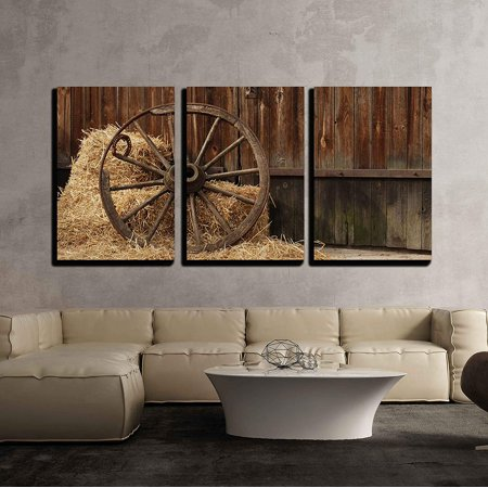 wall26 - 3 Piece Canvas Wall Art - The Old Antique Wheel from cart on Background of hay and barn - Modern Home Decor Stretched and Framed Ready to Hang - Barn Dance Decor