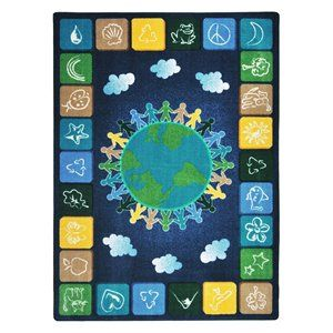 """Kid Essentials - Geography & Environment One World, 5'4"""" x 7'8"""", Neutrals"""