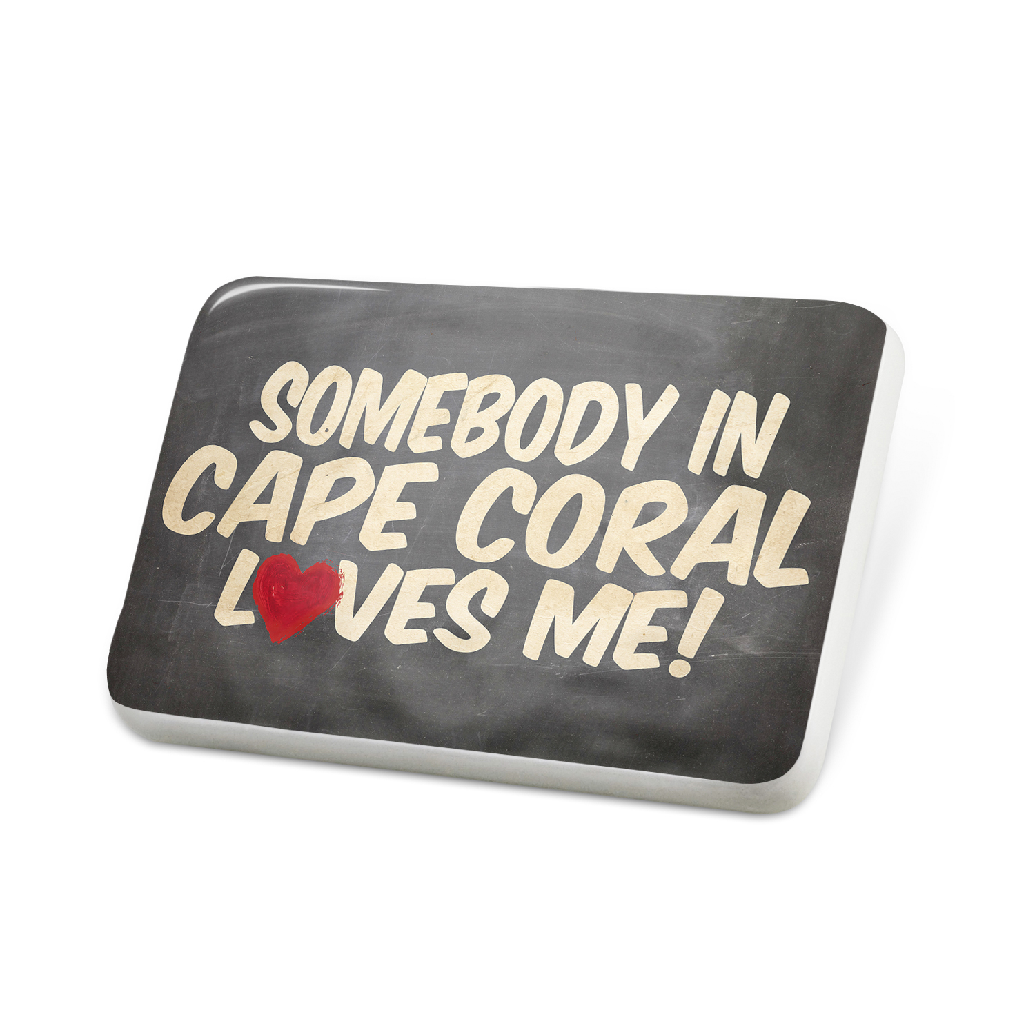 Porcelein Pin Somebody in Cape Coral Loves me, Florida Lapel Badge � NEONBLOND by NEONBLOND
