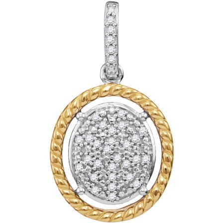 - 10kt Two-tone Gold Womens Diamond Oval Cluster Yellow-tone Rope Frame Pendant 1/12 Cttw = .08 Cttw (I3 Clarity, round cut)