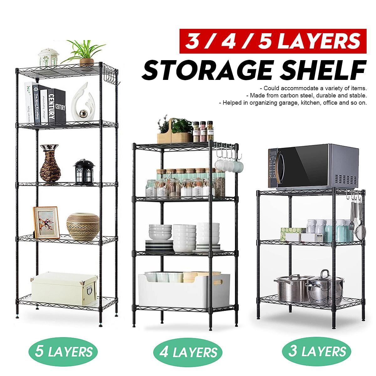 3 Tier Bathroom Kitchen Shelf Metal Shelving Storage Rack Garage Steel Stand New