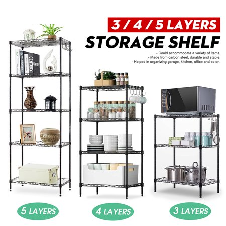 Asewan 3/4/5 Tier Wire Shelving Unit Heavy Duty Metal Shelves Shelf Organizer Rack Height Adjustable for Home Kitchen Bathroom Office Garage Height 4 Shelf Audio Rack