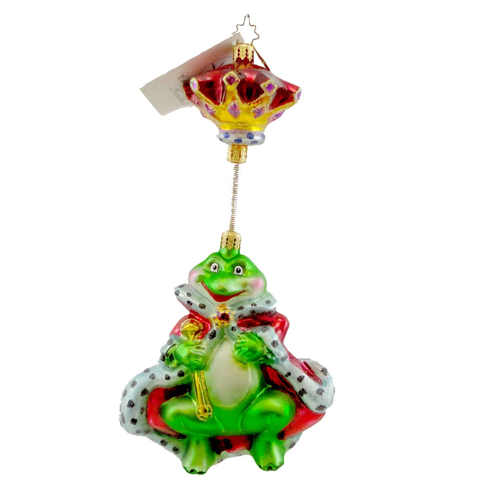 Christopher Radko LILY PAD PRINCE Blown Glass Ornament Frog Crown