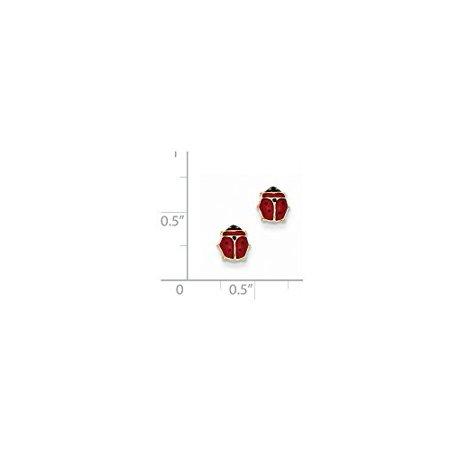 14K Yellow Gold Red Enameled Ladybug Earrings MSRP $168](Yellow Lady Bug)