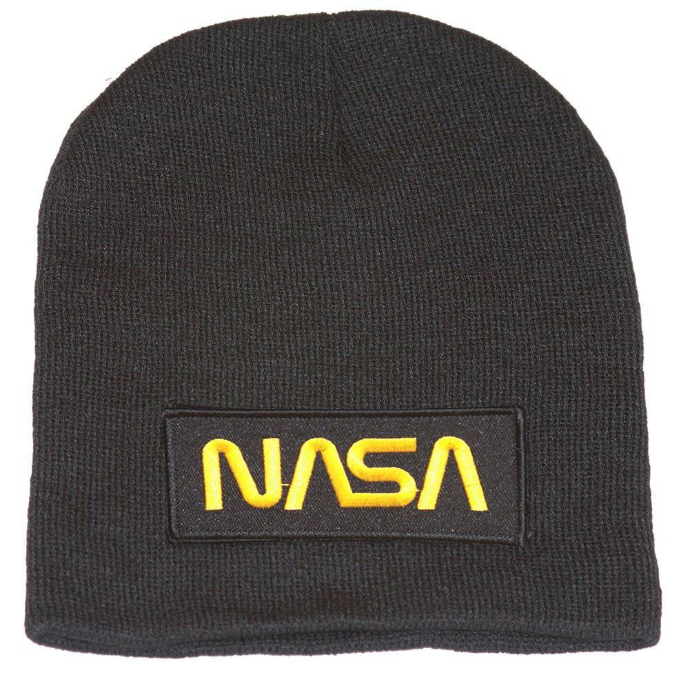 Delux 3D Patch Embroidery Black SHORT  Beanie, Space NASA Gold Logo