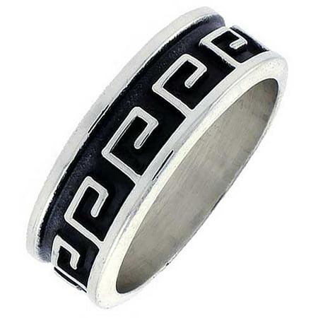 Greek Design Ring - Sterling Silver Greek Key Pattern Ring Southwestern Design Handmade 5/16 inch wide