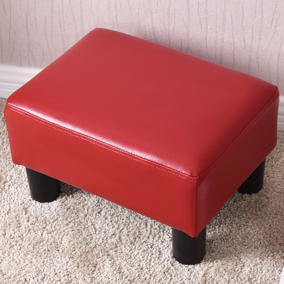 Costway Small Ottoman Footrest PU Leather Footstool Rectangular Seat Stool Red by Costway