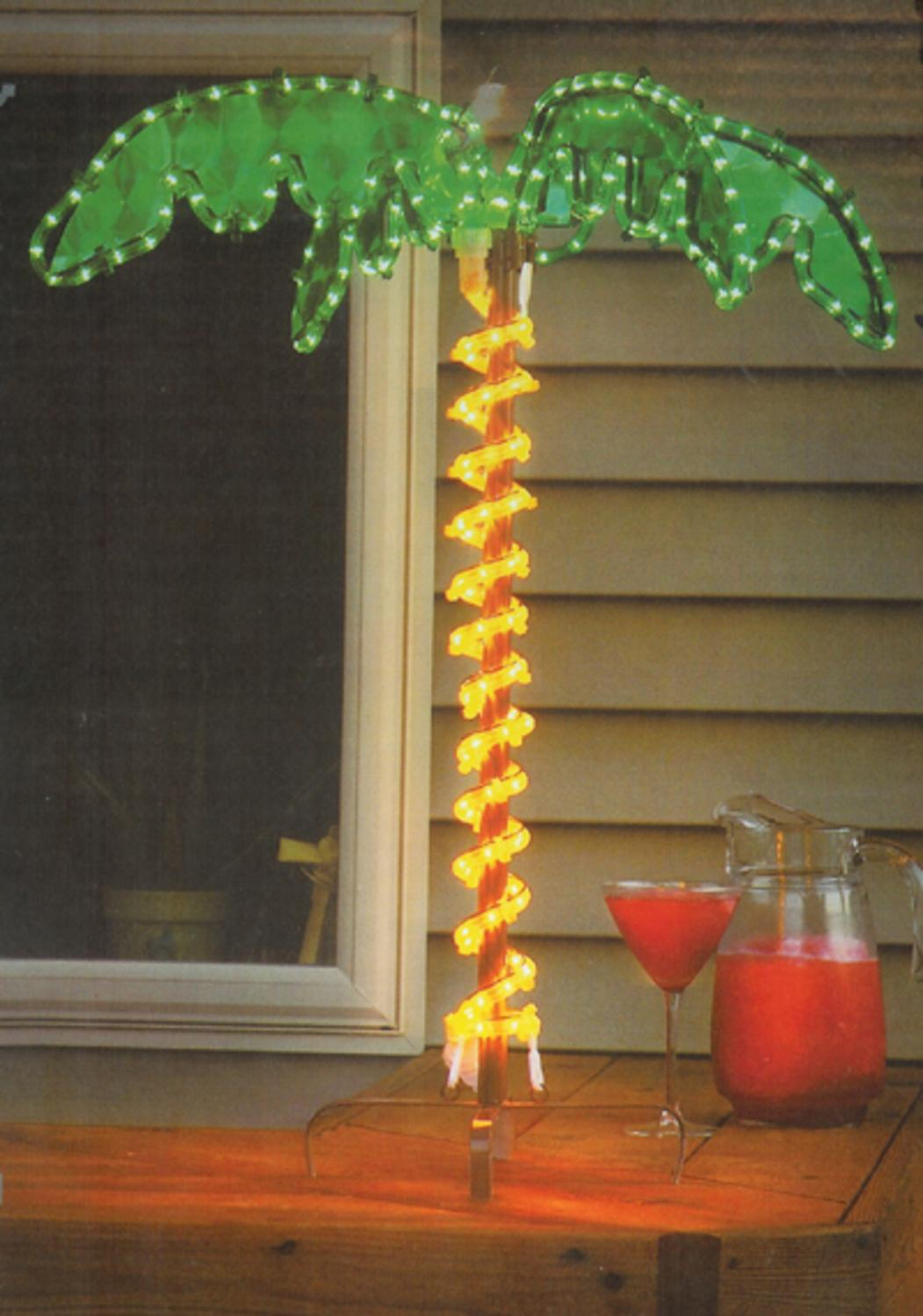 30  Tropical Lighted Holographic Rope Light Outdoor Palm Tree Yard Decoration - Walmart.com & 30