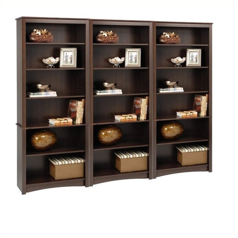 "Prepac 3 Piece 77"" 6 Shelf Bookcase Set in Espresso by Prepac"