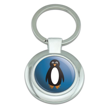 - Penguin Antarctica Cold Ice Bird Alaska Classy Round Chrome Plated Metal Keychain