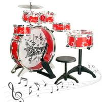 SKONYON 11 Pieces Musical Instrument Toy Starter Drum Set for Kids