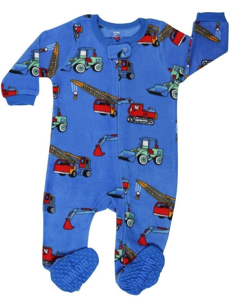 Elowel Little Boys Blue Crane Truck Print Footed Fleece Sleeper Pajama