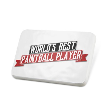 Porcelein Pin Worlds Best Paintball Player Lapel Badge –