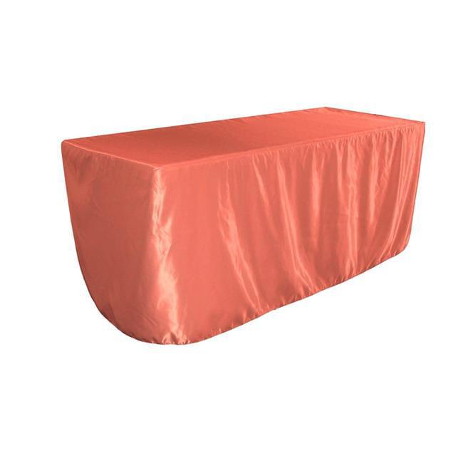 LA Linen TCbridal-fit-72x24x30-CoralB55 Fitted Bridal Satin Tablecloth, Coral 72 x 24 x 30... by LA Linen