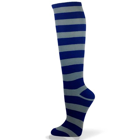 Couver Unisex Halloween Colorfull 2 Colored Wider Striped Knee High Socks - Blue / Light Gray - Halloween Crossfit Socks