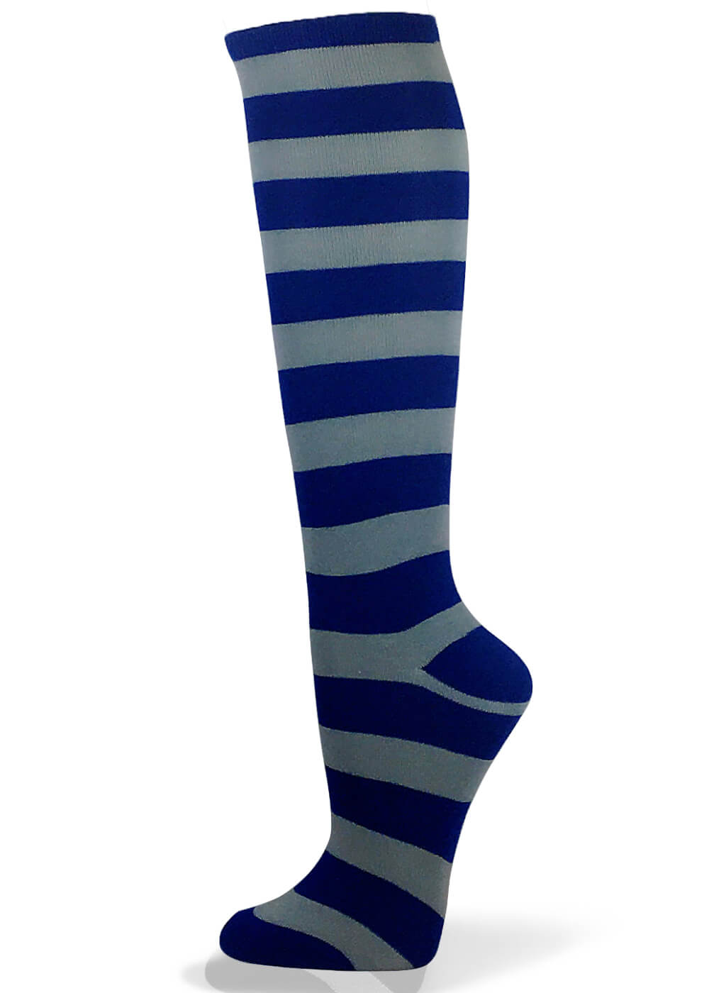 Couver Unisex Halloween Colorfull 2 Colored Wider Striped Knee High Socks - Blue / Light Gray
