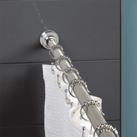 Zenna Home Rustproof Stainless Steel 44 to 72-in. Dual-Mount Ultimate Shower Rod, Chrome Finish