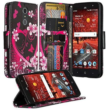 ZTE ZMAX One (Z719DL) Case, ZTE Grand X4 Case, ZTE Blade Spark Z971 Case, Wrist Strap Folio [Kickstand] Pu Leather Wallet Case with ID&Credit Card Slot for ZTE Grand X4 / Blade Spark - Hot Pink Heart