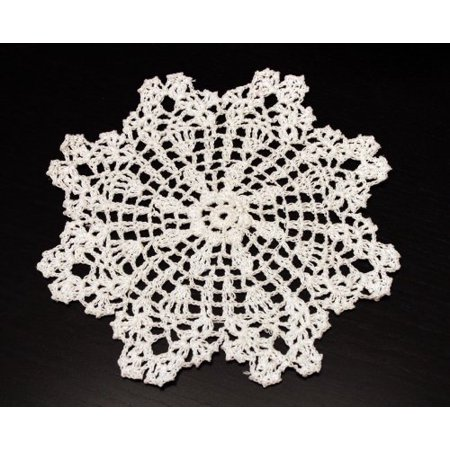 Crochet Ivory Doilies (Handmade Crochet Lace Pineapple White Doily, 8-inch Round, 100% Cotton, 4 Pieces)