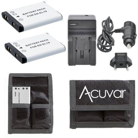 2 EN-EL19 Rechargeable Batteries + Car / Home Charger + Acuvar Battery Pouch for Nikon Coolpix S100, S2500, S2700, S2750, S3100, S3200, S3300, S3500 and Other Models