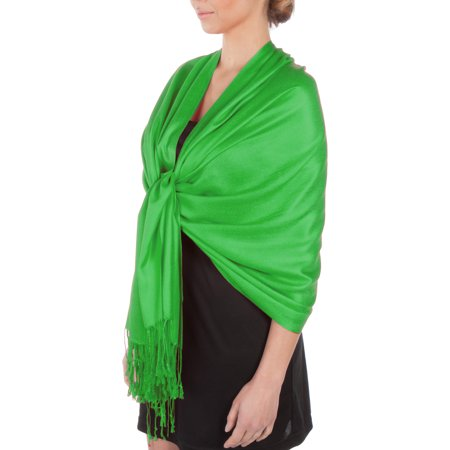 Sakkas Silky Solid Soft Pashmina Shawl Wrap Stole - Bright Green