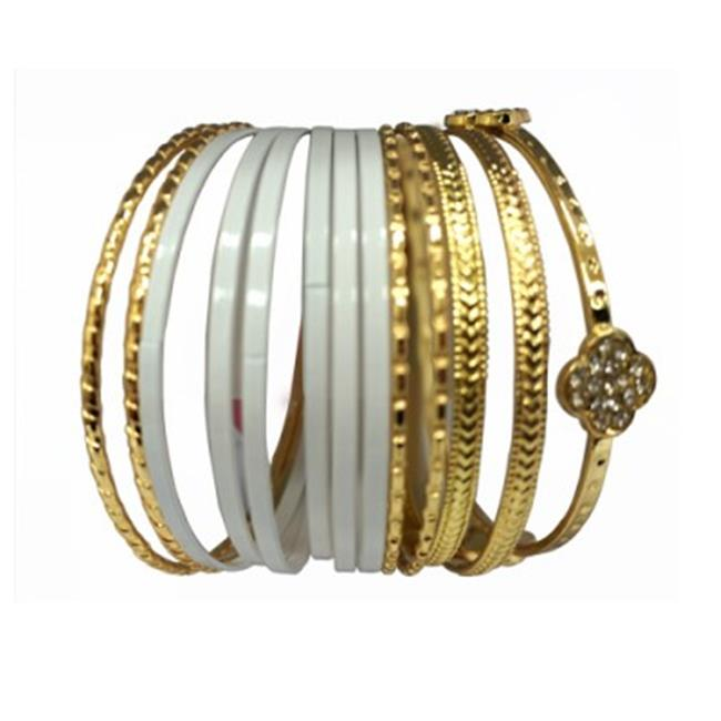 C Jewelry 13 Pieces Gold And White Bangle Set With One Gold Clover Bangle
