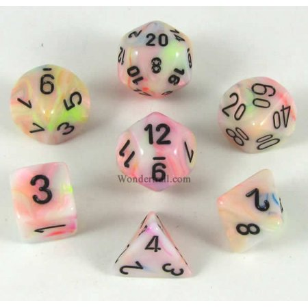 Circus Festive Dice with Black Numbers 16mm (5/8in) Set of 7 Chessex