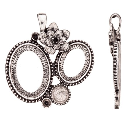 Vanity And Beauty With Flower Antique-Silver Plated Pendant Mounts Fits 1pcs 8mm Flatback, 1pcs 13x18mm Oval, 1pcs 17x24mm Oval, 2pcs ss16 Swarovski Crystals And Cabochons 40x44mm Sold per pkg of 1