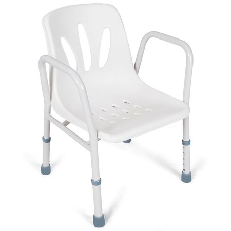 Medical Spa - Gymax Height Adjustable Shower Chair Medical Spa Bathtub Bath Bench Seat w/Arms White