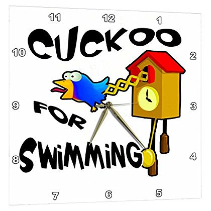3dRose Funny Cuckoo For Swimming Bird Design, Wall Clock, 10 by 10-inch