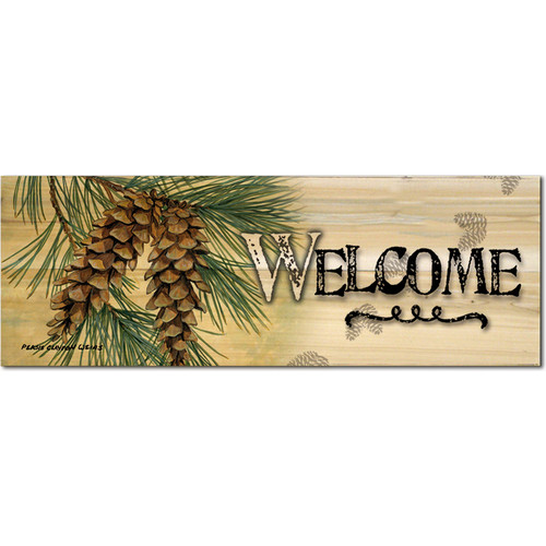 WGI-GALLERY Welcome Pine Cone by Persis Clayton Weirs Graphic Plaque by WGI-GALLERY