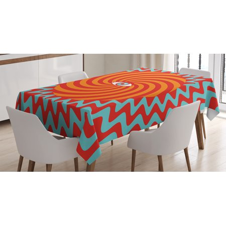 Vintage Decor Tablecloth, Inner Eye in Centre of Spiral Lines with Concentric Circle Pattern Hypnotic Art, Rectangular Table Cover for Dining Room Kitchen, 60 X 90 Inches, Multi, by Ambesonne (Center Table Decor)