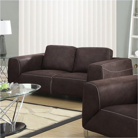 Bowery Hill Contrast Micro Suede Loveseat in Chocolate Brown