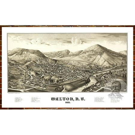 12 Vintage Swarovski Art - Ted's Vintage Art Map of Walton, NY 1887; Old New York Decor 12