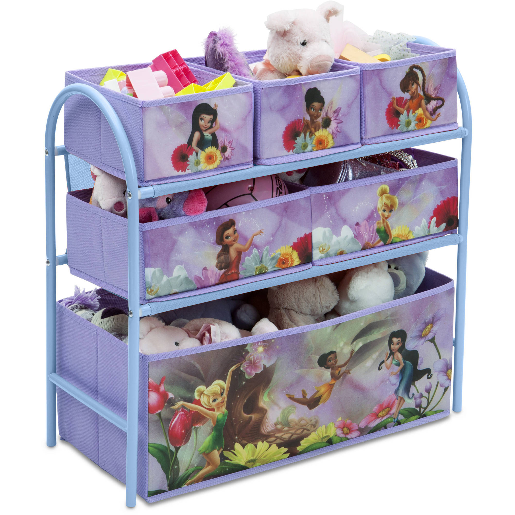 Disney Fairies Metal Multi Bin Toy Organizer, Lavender   Walmart.com