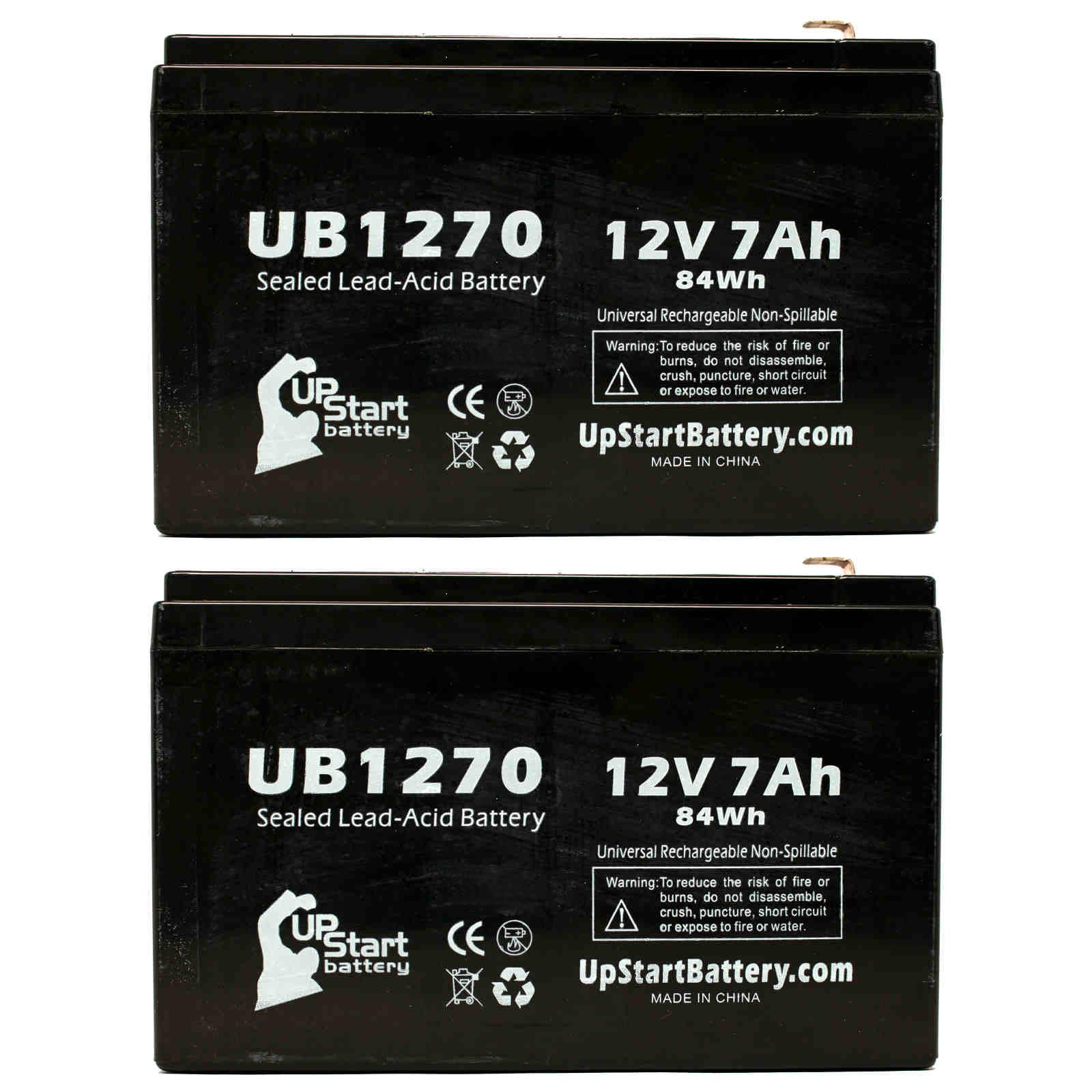 2x Pack - Laerdal 95 HEART AID Battery Replacement -  UB1270 Universal Sealed Lead Acid Battery (12V, 7Ah, 7000mAh, F1 Terminal, AGM, SLA) - Includes 4 F1 to F2 Terminal Adapters