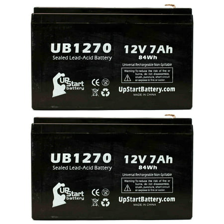 2x Pack - Compatible MINUTEMAN EDBP24EXL Battery Pack Battery - Replacement UB1270 Universal Sealed Lead Acid Battery (12V, 7Ah, 7000mAh, F1 Terminal, AGM, SLA) - Includes 4 F1 to F2 Terminal Adapters