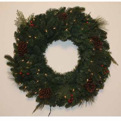 Amerihua International Ent Inc AMICM18030L100 Wreath Mixed Tips and Red Berries 100 Clear Lights 30i