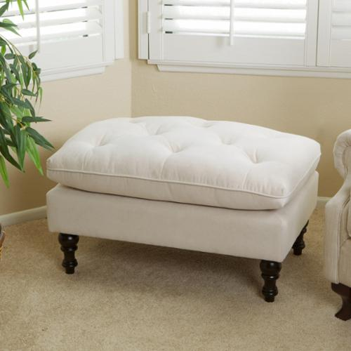 Terry Tufted Fabric Ottoman