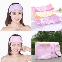 Spa Face Headband Makeup Wrap Head Terry Cloth Headband Stretch Towel with Magic Tape Pink