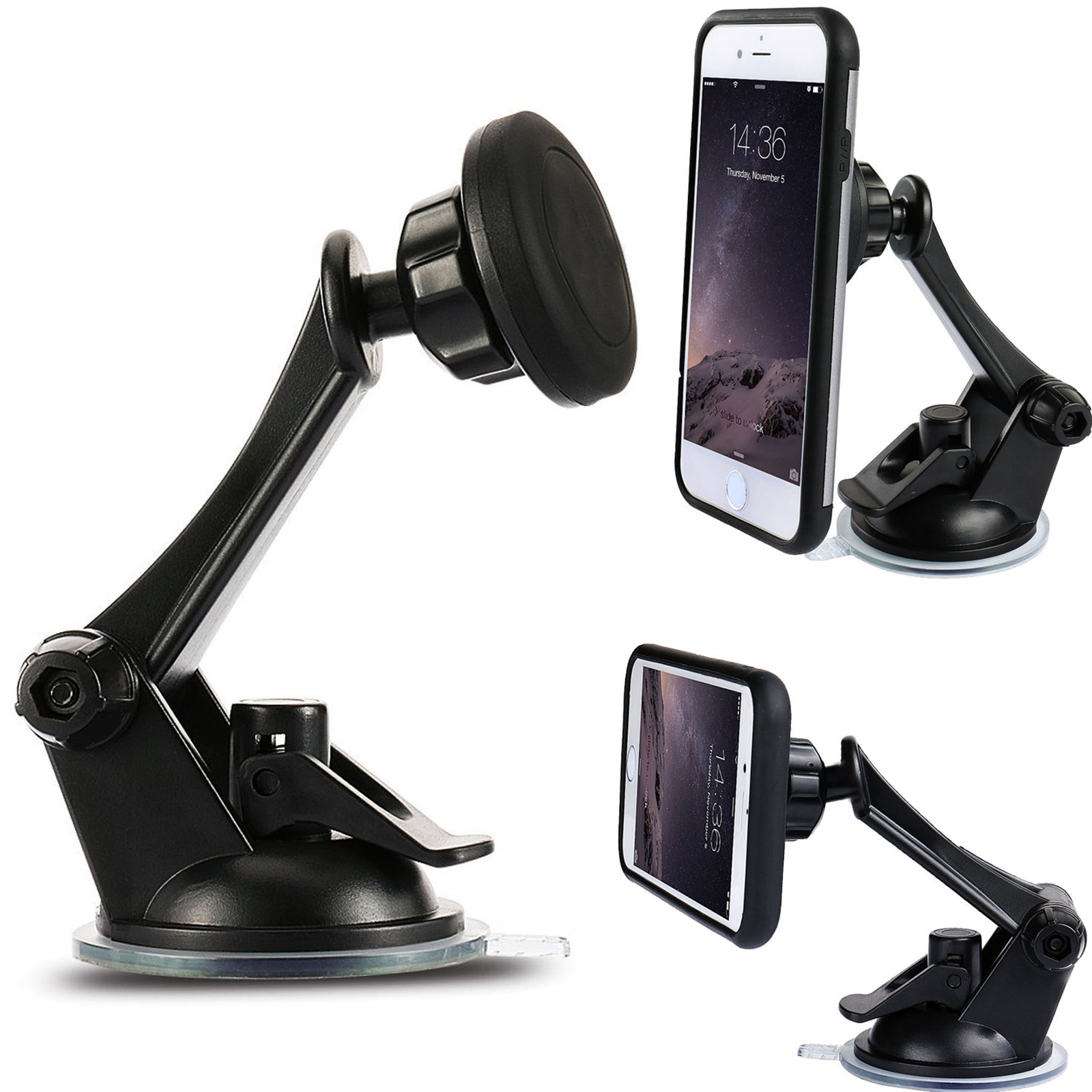 Rotary Car Windshield Dashboard Suction Cup Magnetic Mount Holder For Cell Phones