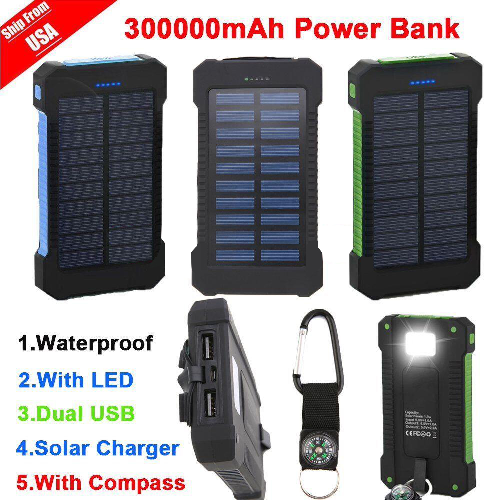 300000mAh Dual USB Portable Solar Battery Charger Solar Power Bank High Capacity(Black) by LESHP