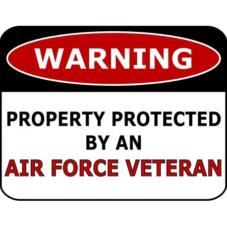 PCSCP Warning Property Protected By An Air Force Veteran 11 inch by 9.5 inch Laminated Funny Sign - Halloween Signs Funny