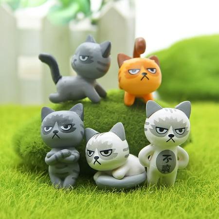6pcs Grumpy Cat Plant Accessories Micro Cottage Landscape Ornaments Potted Decoration Style:Grumpy cat Size:About 3 cm ()