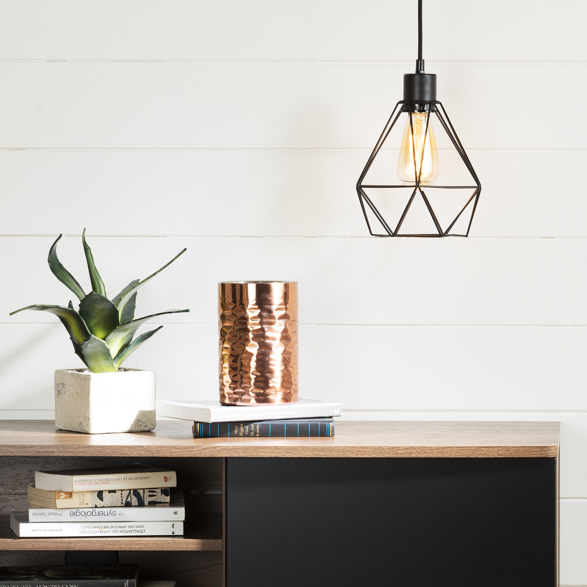 South Shore Plog-It Hanging Lamp with Geometric Shade, Multiple Colors