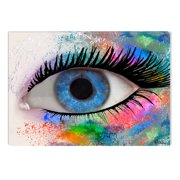 Startonight Canvas Wall Art Fashion Eye by Diana, Illuminated Abstract Colored Painting 5 Stars Gift 23.62 X 35.43 inch