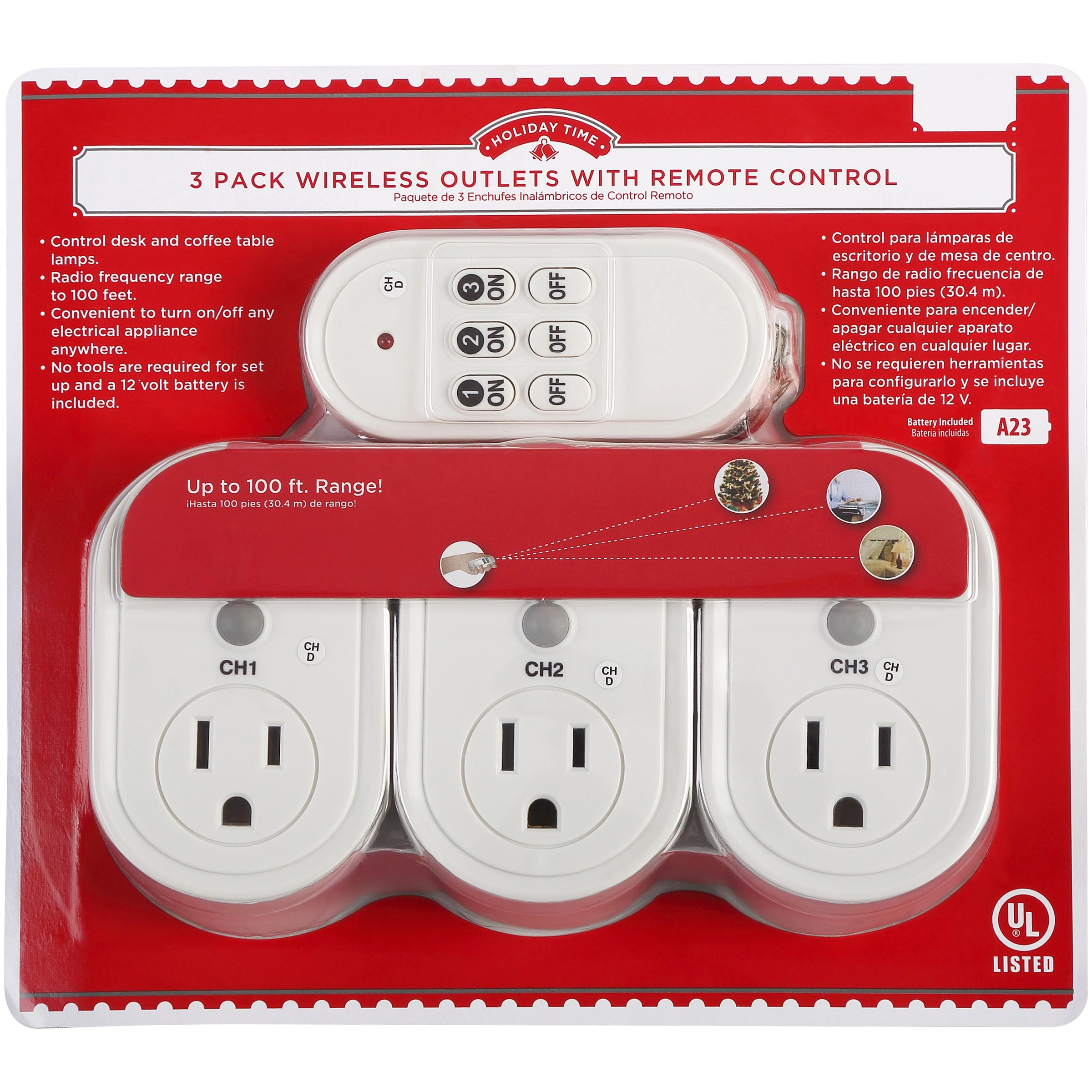 Holiday Time Wireless Outlets with Remote, 3-Pack with 100 Foot Radio Frequency Range