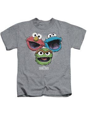 Sesame Street Halftone Heads Little Boys Juvy Shirt Athletic Heather