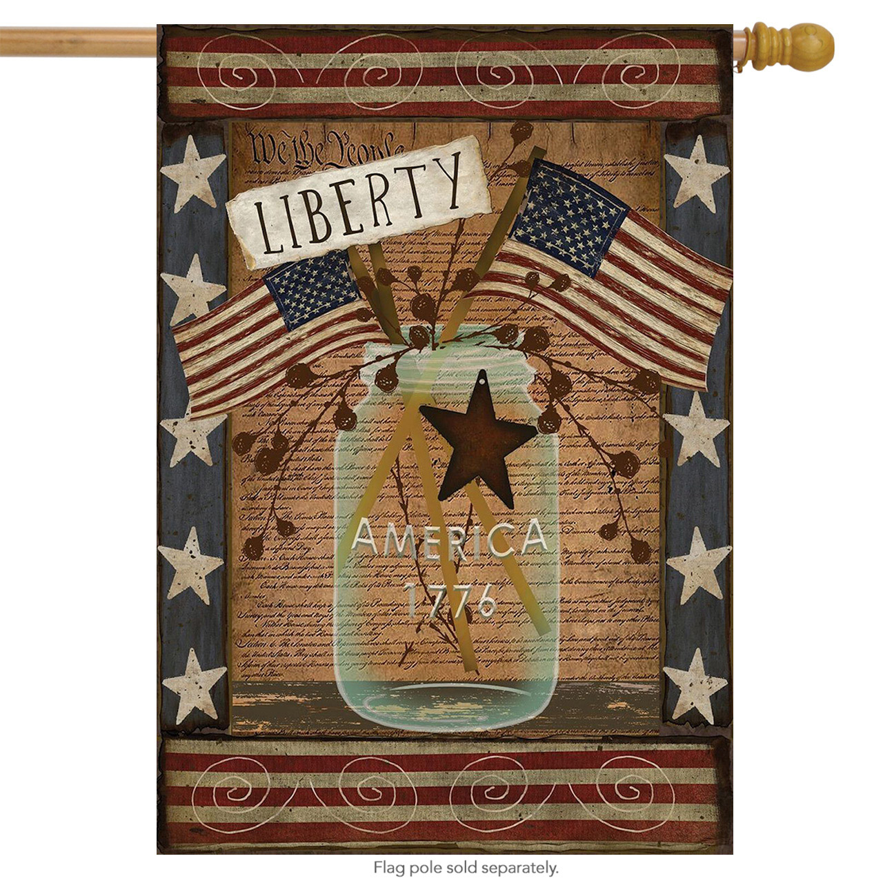 """liberty patriotic house flag primitive 4th of july usa 28"""" x 40"""""""