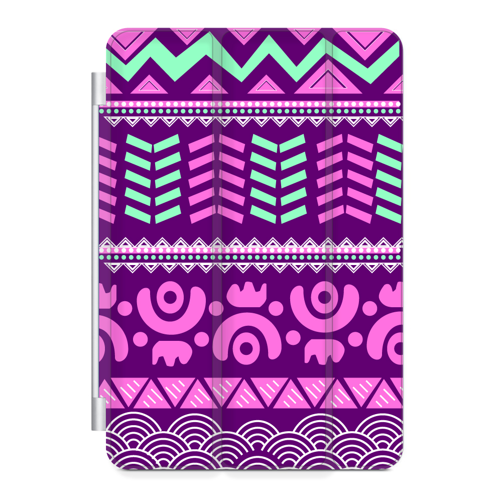 CUSTOM Black Smart Cover (Magnetic Front Cover / Stand) for Apple iPad Air 2 (2014 Model) - Pink Green Aztec Tribal